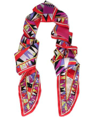 Embellished Printed Silk-satin Scarf Red Size --