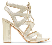 Lace-up Metallic Textured-leather Sandals Gold