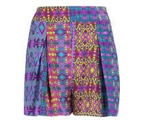 Pleated printed silk shorts