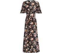 Cutout Floral-print Silk Crepe De Chine Midi Dress