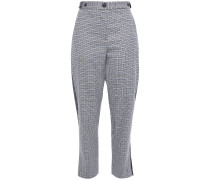 Cropped Paneled Checked Wool-blend Felt Tapered Pants
