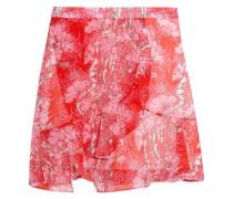 Wrap-effect floral-print georgette mini skirt