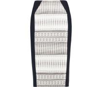 Stretch Knit-paneled Jacquard Pencil Skirt Weiß