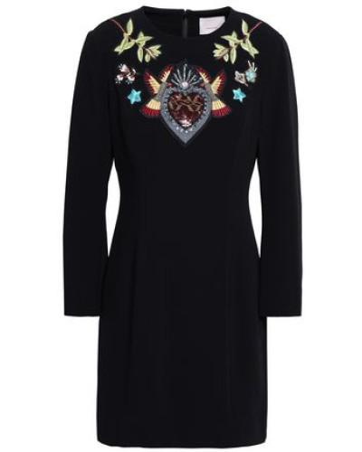 Woman Josephine Embellished Crepe Mini Dress Black