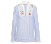 Gestreiftes Hemd aus Baumwollpopeline mit Stickereien