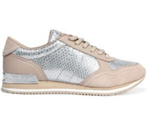 Jamie metallic snake-effect leather and suede sneakers
