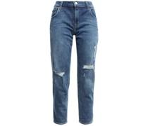 Distressed Faded Boyfriend Jeans