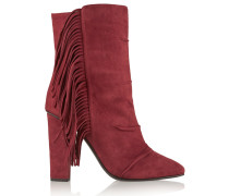 Fringed Suede Boots Ziegelrot