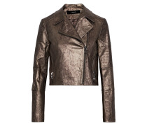 Aiah Coated Snake-print Cotton-blend Twill Biker Jacket