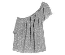 Rita One-shoulder Tiered Printed Georgette Top Grau