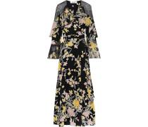 Alice Lace-paneled Floral-print Chiffon And Silk Crepe De Chine Midi Wrap Dress