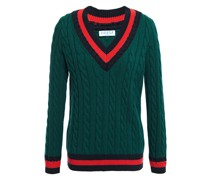 Striped Cable-knit Cotton And Wool-blend Sweater
