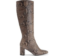 Gigi Snake-effect Leather Knee Boots