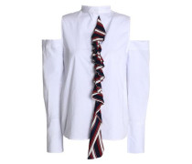 Cold-shoulder striped ruffle-trimmed cotton-poplin shirt