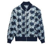 Floral-embroidered Mesh Bomber Jacket Himmelblau