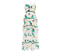 Tiered Cutout Floral-print Crepe De Chine Midi Dress