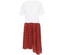 Kleid aus Bedrucktem Crêpe De Chine aus Seide und Baumwoll-jersey
