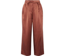 Pleated silk-satin culottes