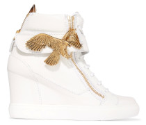 Embellished Textured-leather Wedge Sneakers Weiß