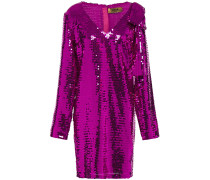 Bow-embellished Sequined Georgette Mini Dress