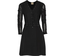 Lace-up Silk-crepe Mini Dress Schwarz