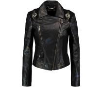 Jersey-paneled Printed Faux Leather Jacket Schwarz