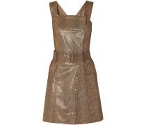 Lorena Belted Snake-effect Vegan Leather Mini Dress