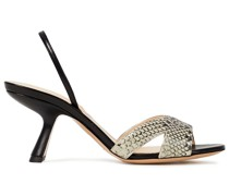 Smooth And Snake-effect Leather Slingback Sandals