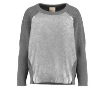Paneled ribbed cashmere-blend sweater