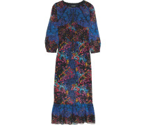 Terri Printed Silk-georgette Midi Dress Blau