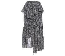Asymmetric Ruffled Floral-jacquard Skirt