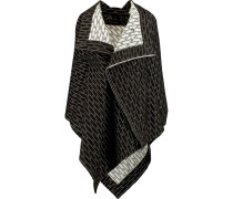 Caneva Draped Textured-knit Cape Schwarz