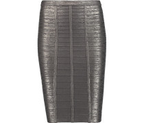 Metallic Bandage Pencil Skirt Stahlgrau