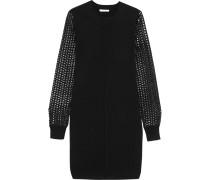 Open Knit-paneled Wool Mini Dress Schwarz
