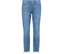Josie Crop Raw High-rise Distressed Straight-leg Jeans Heller Denim