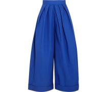 Pleated cotton-poplin wide-leg pants