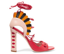Lotus Suede-trimmed Lace-up Leather Sandals Rot