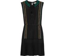 Egypte Embroidered Silk Dress Schwarz