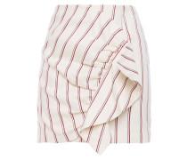 Fluky Ruffled Striped Twill Mini Skirt