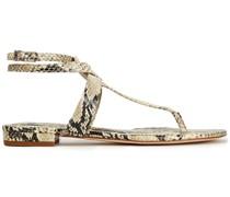 Taiya Sandalen aus Leder mit Schlangeneffekt