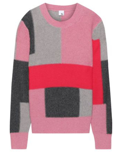 Thora Color-block Intarsia-knit Sweater Pink
