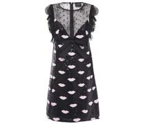 Embellished Point D'esprit-paneled Crepe Mini Dress