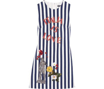 Embellished striped cotton-blend mini dress