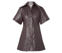 Piper Croc-effect Coated-linen Mini Shirt Dress