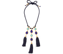 Braided Cord, Stone And Gold-tone Necklace Blau