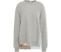 Pleated Floral-print Mousseline, Twill And French Cotton-blend Terry Sweatshirt