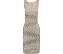Laser-cut Layered Cotton-blend Mini Dress Wollweiß