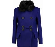 Marshall Faux Fur-trimmed Wool-blend Coat Königsblau