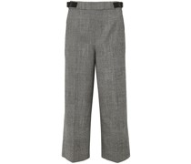 Charlie Cropped Leather-trimmed Prince Of Wales Checked Wool-blend Wide-leg Pants