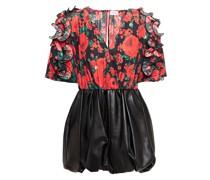 Lleida Leather-paneled Ruffled Floral-print Washed-silk Mini Dress